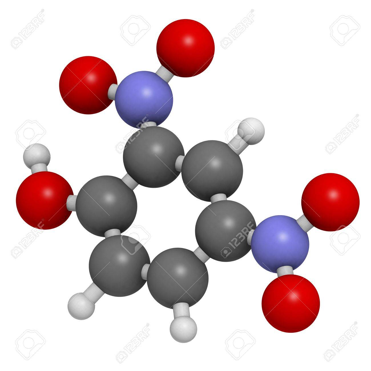 2,4-Dinitrophenol (DNP), molecular model  Atoms are represented