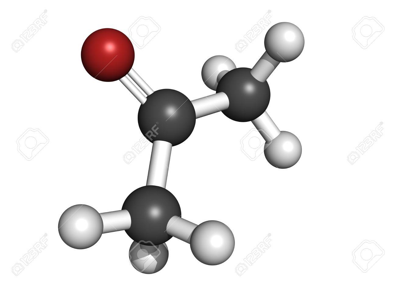 acetone solvent molecule molecular model atoms are represented