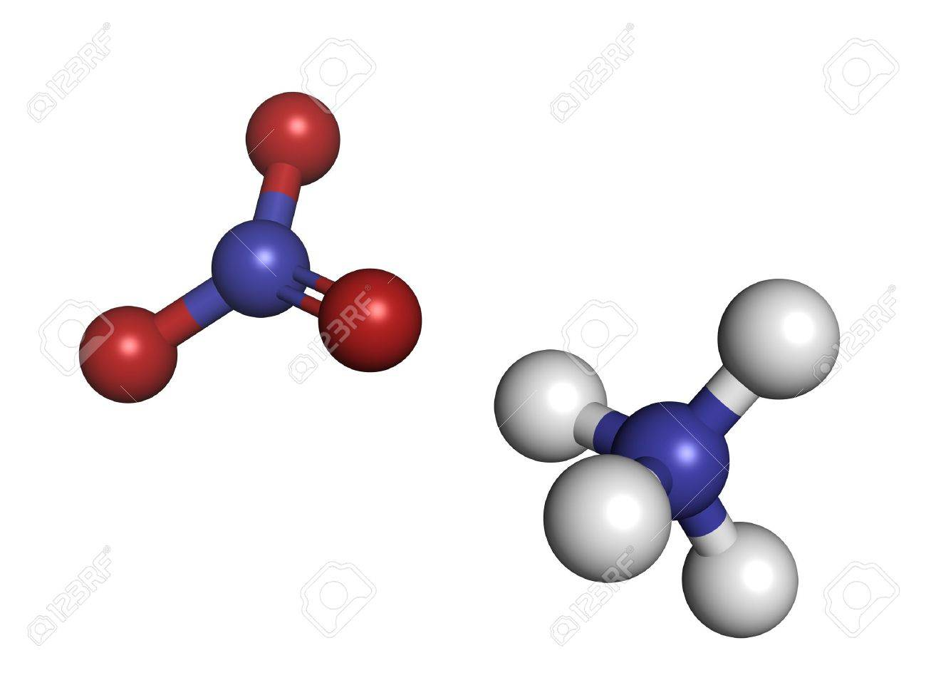 Ammonium nitrate fertilizer, molecular model. Ammonium nitrate is also used in explosive mixtures. Atoms are represented as spheres with conventional color coding: hydrogen (white), oxygen (red), nitrogen (blue) Stock Photo - 18947338