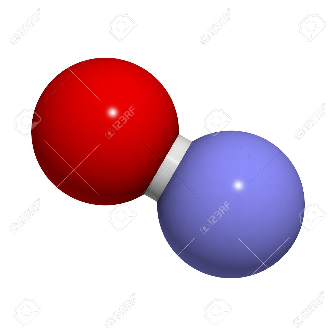 Nitric oxide (NO) free radical and signaling molecule, molecular model. It is also known as the endothelium-derived relaxing factor (EDRF). Atoms are represented as spheres with conventional color coding: oxygen (red), nitrogen (blue) Stock Photo - 18947382