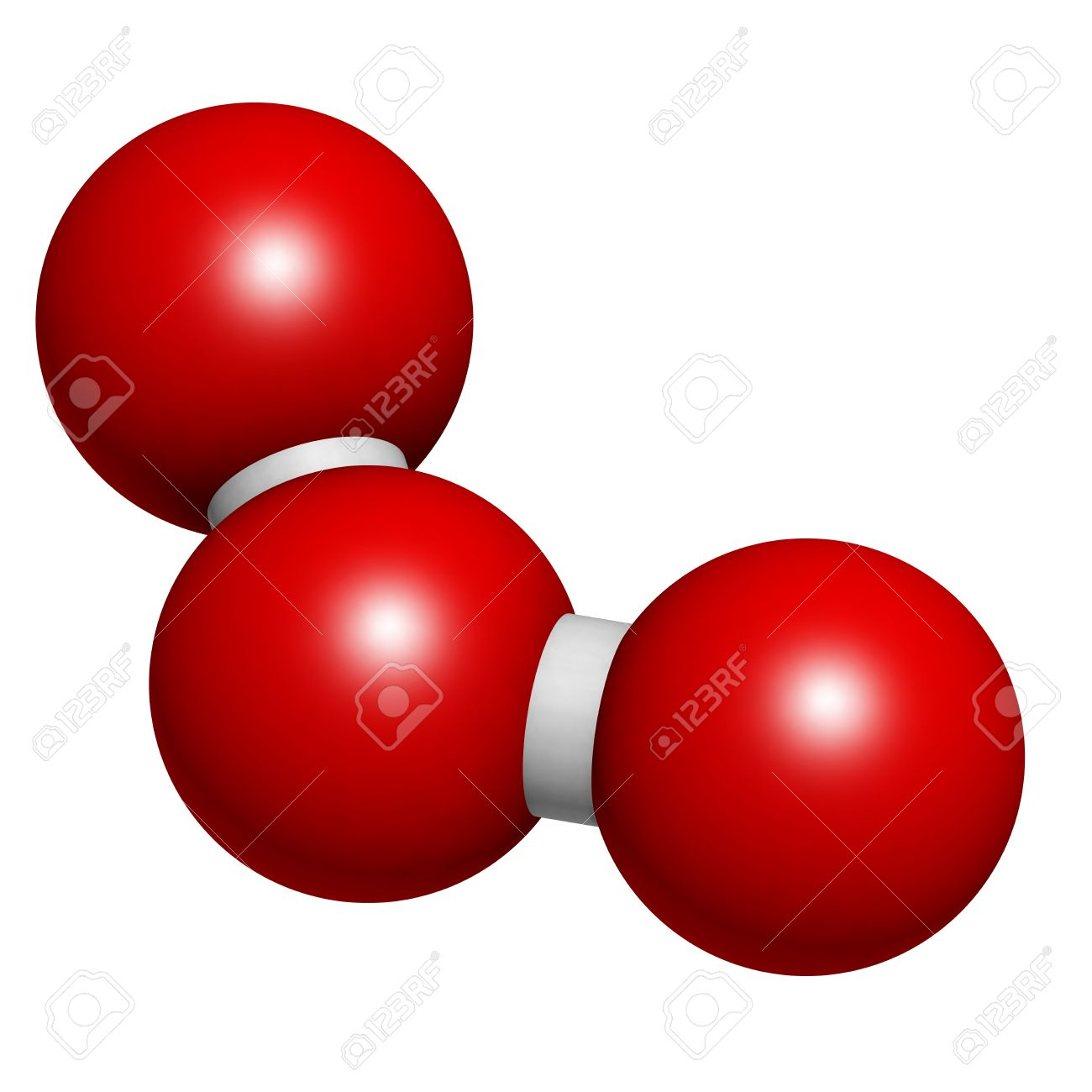 Ozone (trioxygen, O3) Molecule, Chemical Structure. Atoms Are ...