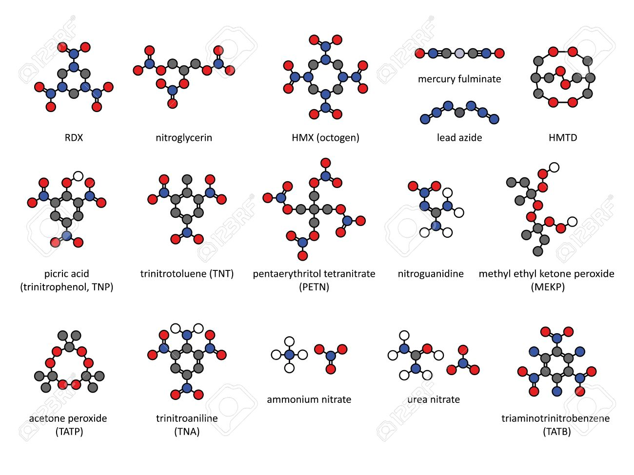 Explosive compounds, 2D chemical structures (set). Atoms are represented as conventionally color-coded circles. Included are nitroglycerin, RDX, HMX, TATB, MEKP, TNT, PETN, ammonium nitrate, nitroguanidine, mercury fulminate, lead azide, acetone peroxide Stock Vector - 19288633