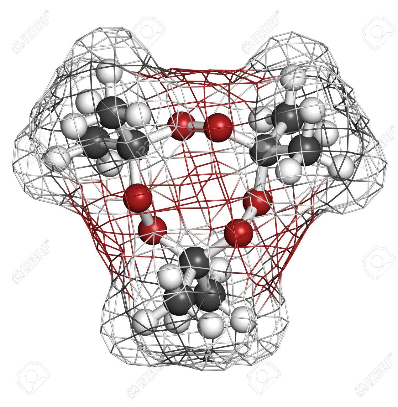 Acetone peroxide (triacetone peroxide, TATP) explosive molecule, chemical structure. Atoms are represented as spheres with conventional color coding: hydrogen (white), carbon (grey), oxygen (red) Stock Photo - 19617722
