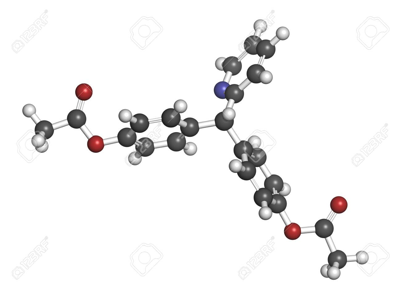 Bisacodyl laxative drug, chemical structure. Atoms are represented as spheres with conventional color coding: hydrogen (white), carbon (grey), oxygen (red), nitrogen (blue) Stock Photo - 21198571