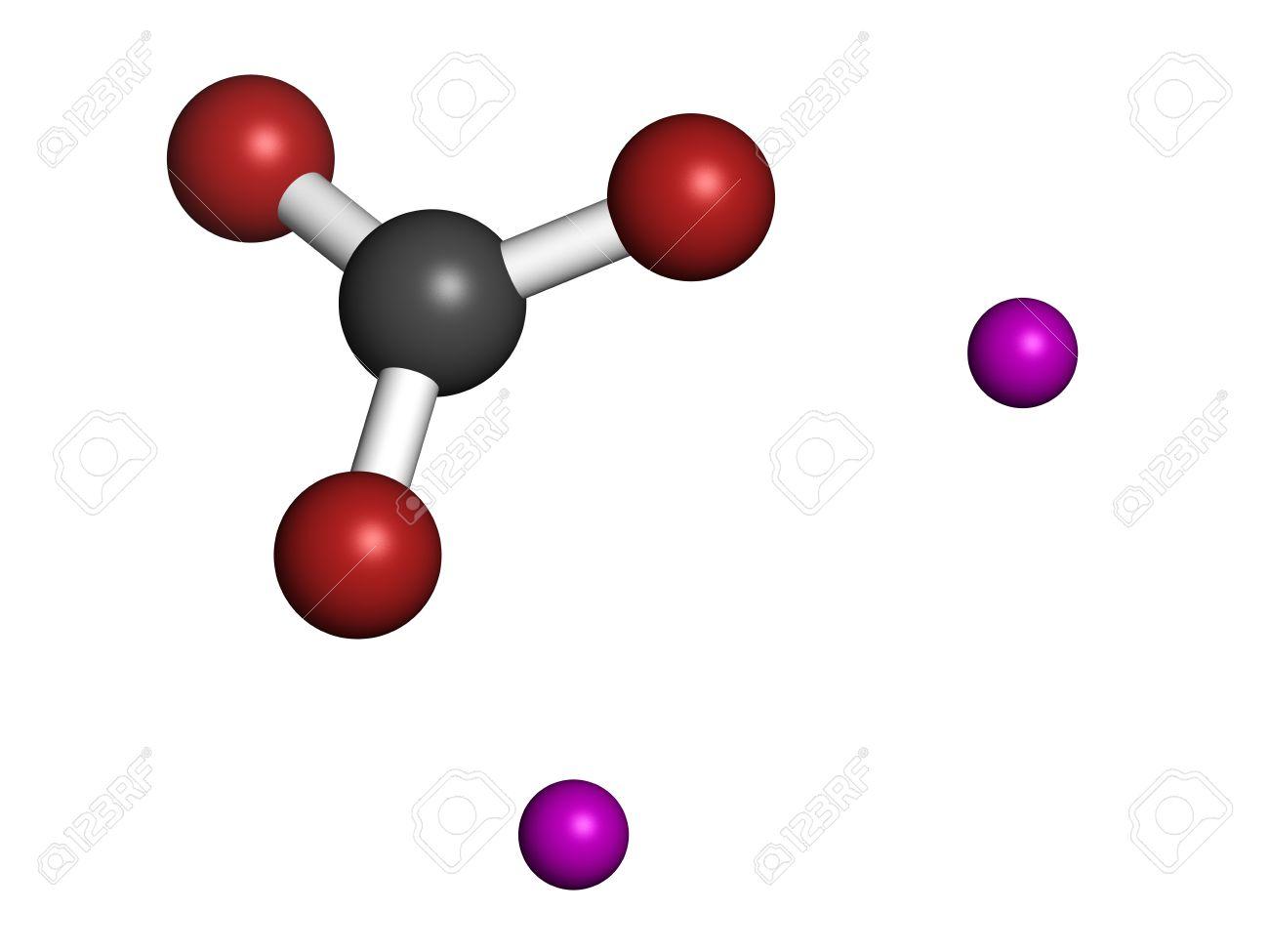 Lithium carbonate (Li2CO3) bipolar disorder drug, chemical structure