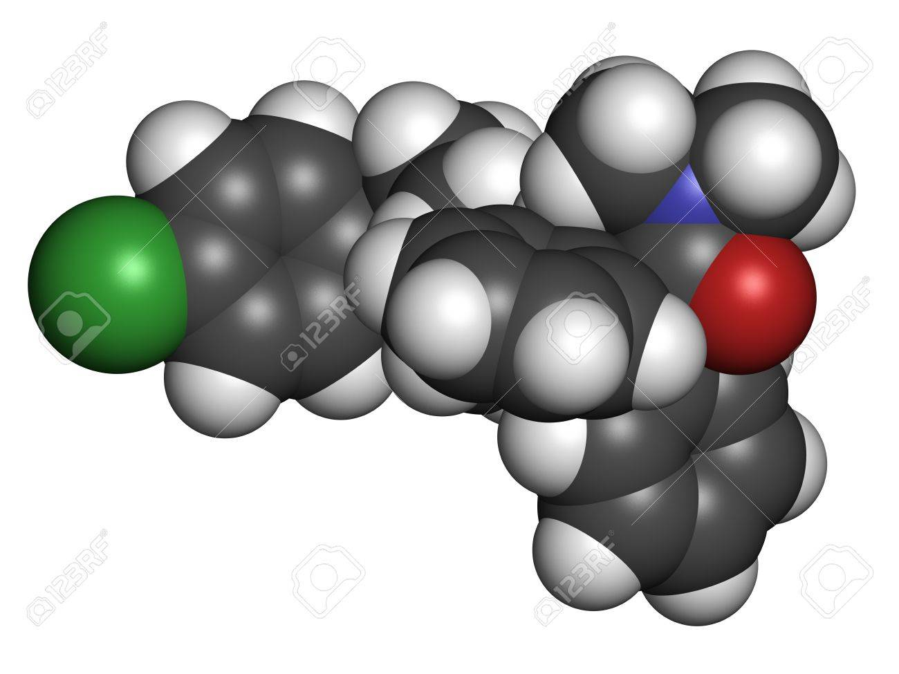 Loperamide diarrhea drug, chemical structure. Atoms are represented as spheres with conventional color coding: hydrogen (white), carbon (grey), oxygen (red), nitrogen (blue), chlorine (green) Stock Photo - 21198730