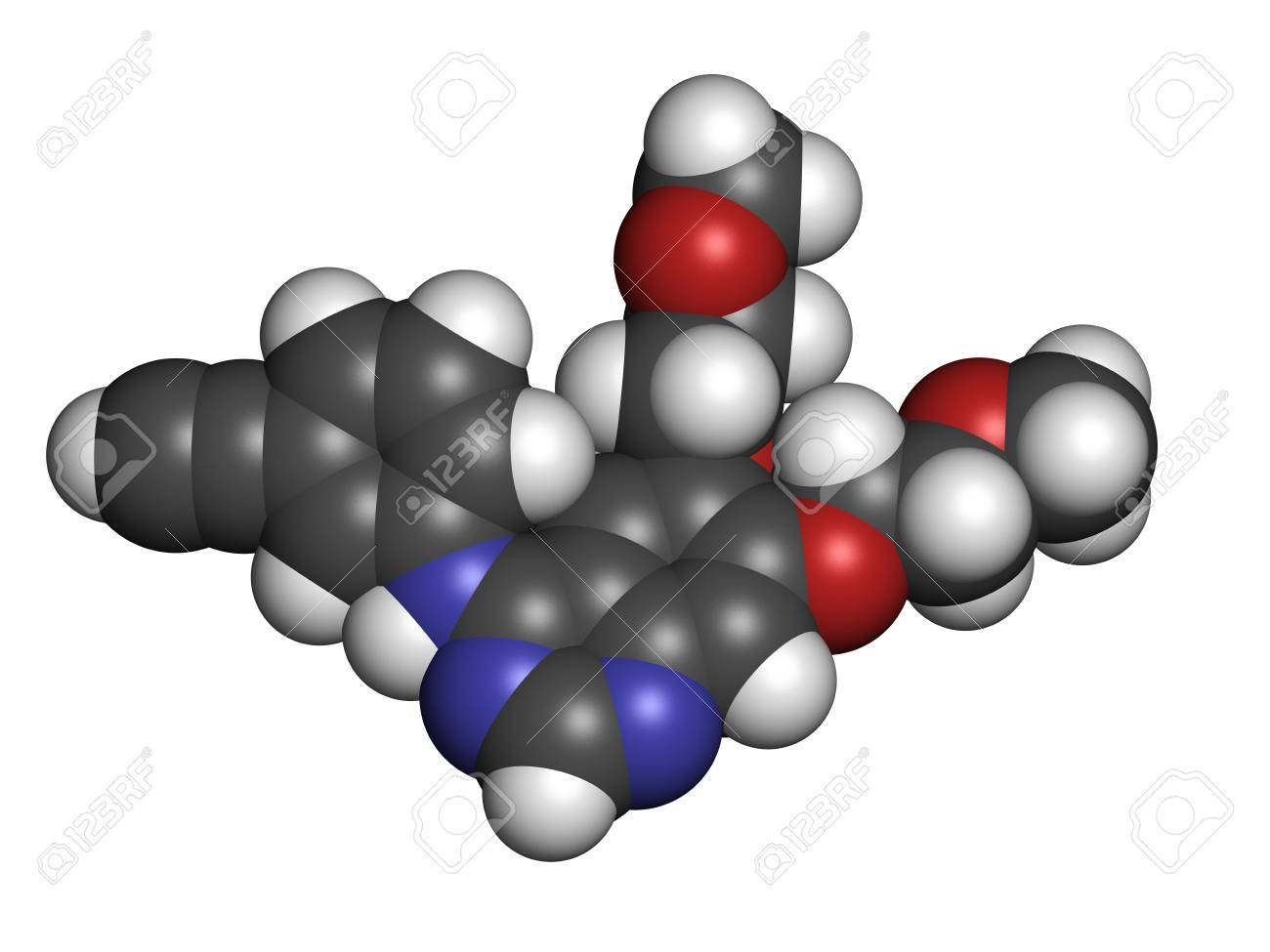 Erlotinib cancer drug, chemical structure. Atoms are represented as spheres with conventional color coding: hydrogen (white), carbon (grey), nitrogen (blue), oxygen (red). Stock Photo - 21339692