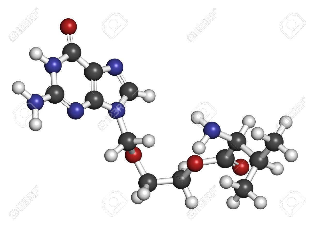Valaciclovir (valacyclovir) herpes infection drug, chemical structure. Atoms are represented as spheres with conventional color coding: hydrogen (white), carbon (grey), nitrogen (blue), oxygen (red). Stock Photo - 21339876