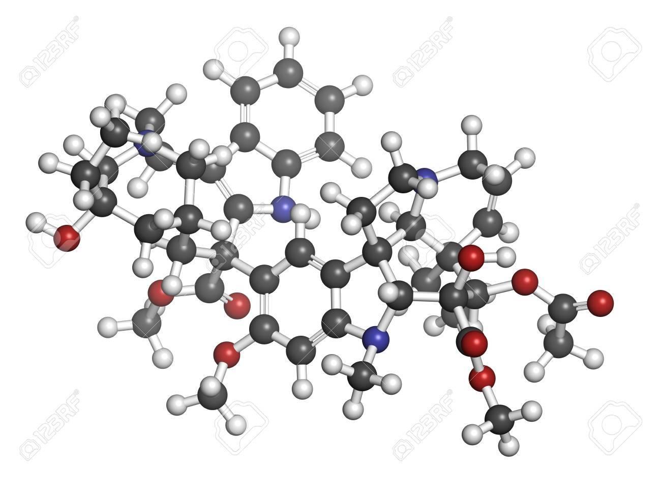 ビンブラスチン癌化学療法薬、化学構造。原子は従来色の球体として表 ...