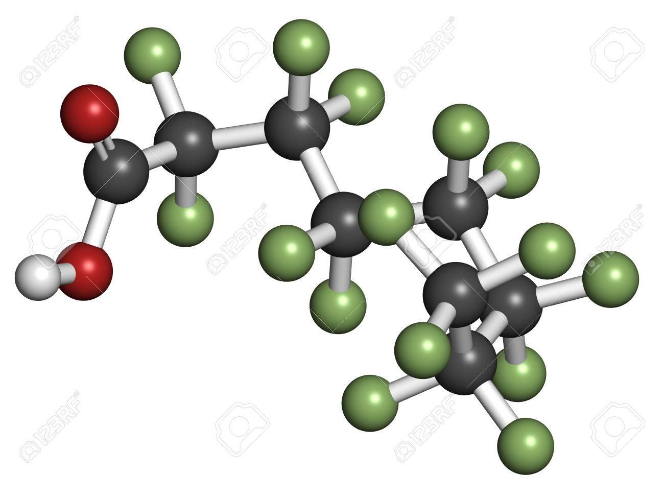 Perfluorooctanoic acid (PFOA, C8) molecule  Important and persistent