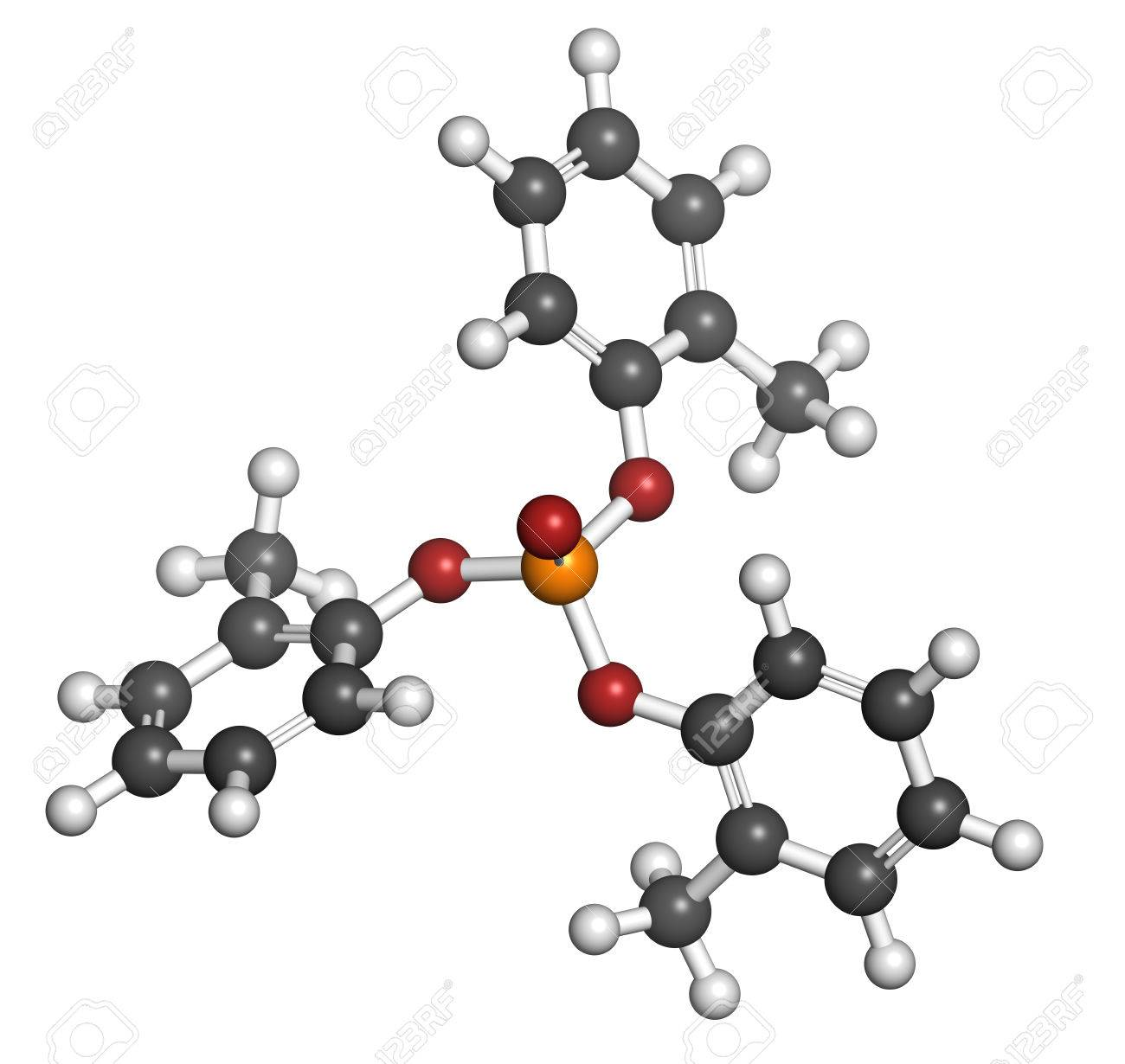 Tricresyl phosphate (TCP) molecule. Used as plasticizer, for waterproofing, as flame retardant, etc. Known to be neurotoxin. Atoms are represented as spheres with conventional color coding: hydrogen (white), carbon (grey), oxygen (red), phosphorus (orange - 25357494