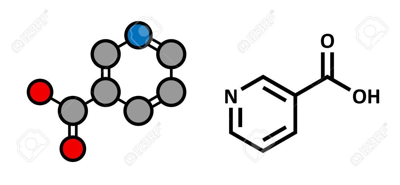 Vitamina B3 Niacina Molécula Estilizada Renderizado 2d Y Fórmula Esqueletal Convencional