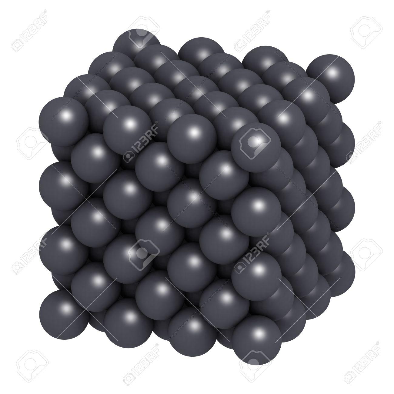 Metal De Plata Ag La Estructura Cristalina Los átomos Se Representan Como Esferas