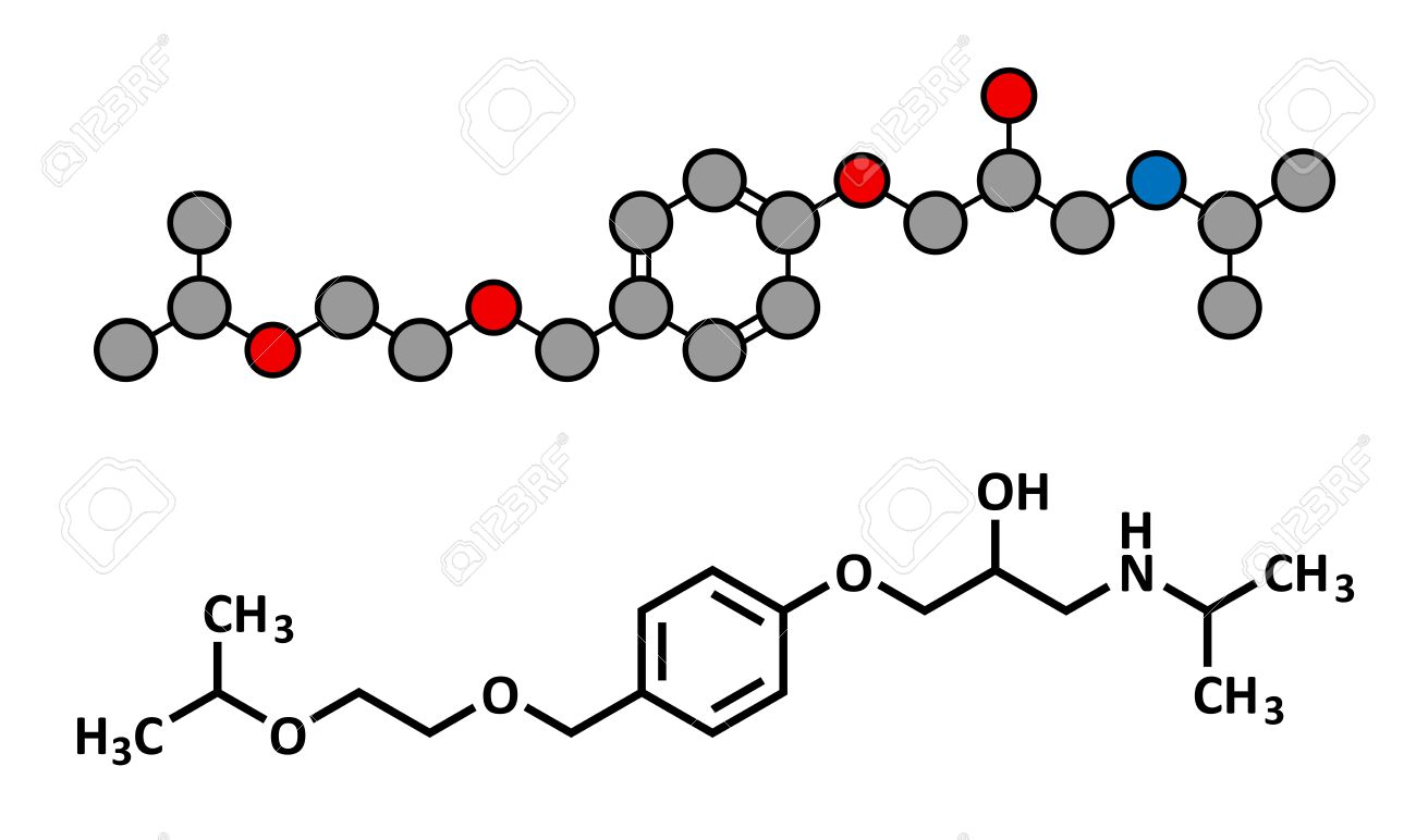 Colour therapy for high bp - Bisoprolol Beta Blocker Drug Chemical Structure Used To Treat High Blood Pressure Hypertension