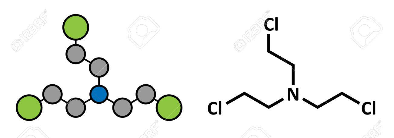 nitrogen mustard hn 3 molecule used as blister agent chemical warfare agent