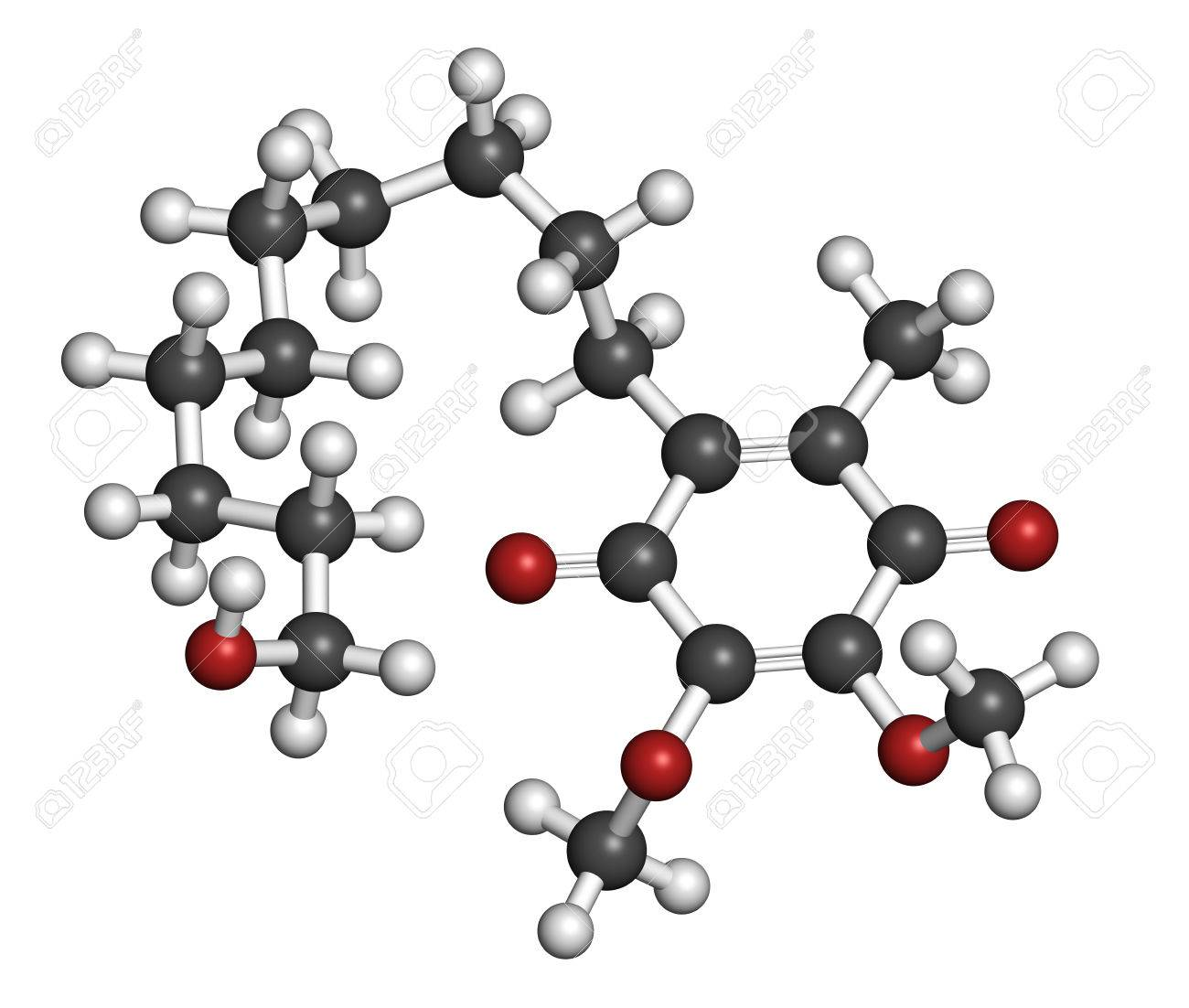 Idebenone drug molecule. Atoms are represented as spheres with conventional color coding: hydrogen (white), carbon (grey), oxygen (red). - 31829373