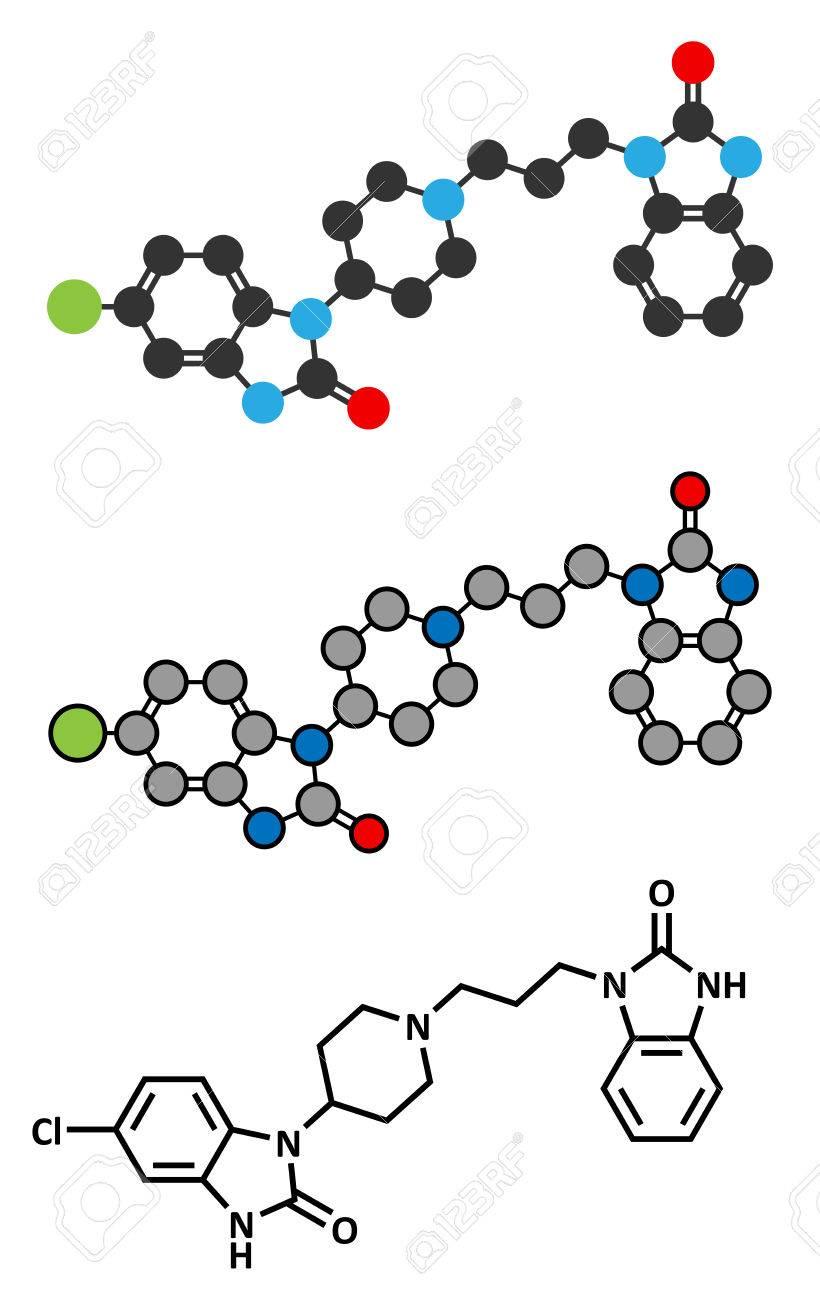 ドンペリドン吐き気や嘔吐を抑制する薬剤の分子 また母乳促進するために使用されます 従来の骨格式と様式化された表現 のイラスト素材 ベクタ Image
