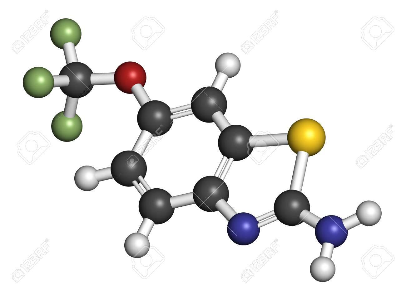Le riluzole la sclérose latérale amyotrophique (SLA) molécule de  médicament. Atomes sont représentés comme des sphères avec codage couleur  classique: ...