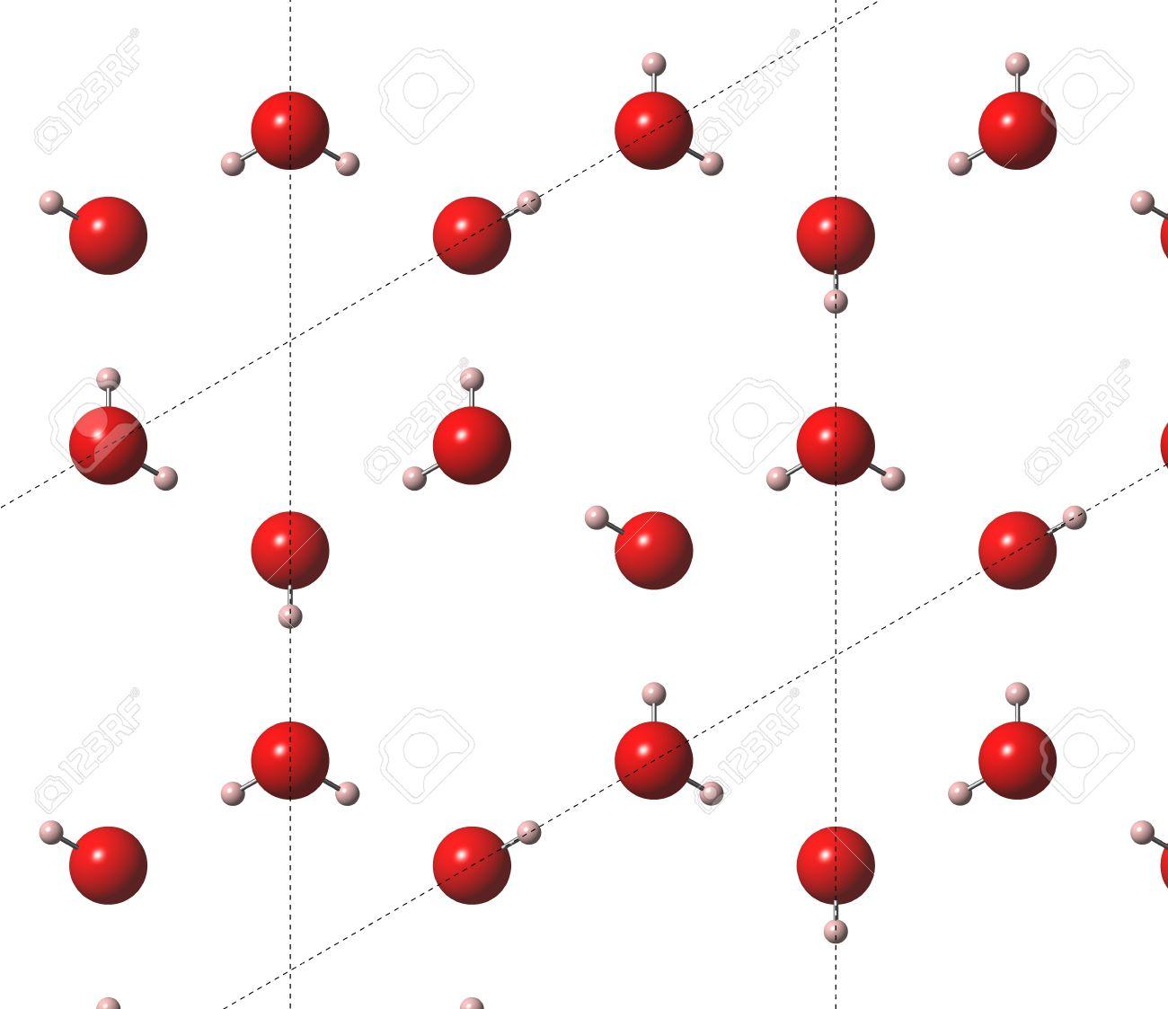 Hielo Agua Congelada Hexagonal Estructura Cristalina Los átomos Se Representan Como Esferas De Color Codificado Rosa Rojo De Hidrógeno Del