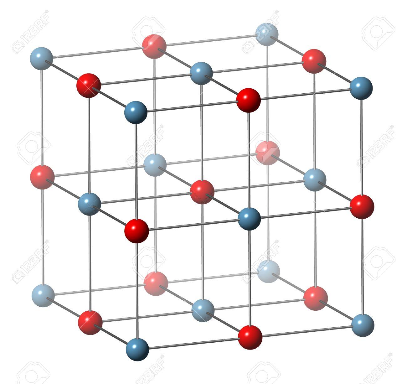 El óxido De Calcio Cao Cal Viva Cal Quemada Estructura Cristalina Ingrediente Esencial De Cemento átomo De Oxígeno Se Muestra Como Esferas De