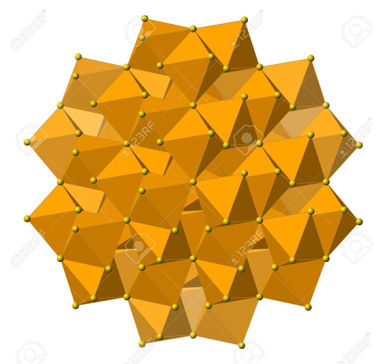 Pirita Oro De Los Tontos Fe2s Mineral Estructura Cristalina Los átomos Que Se Muestran Como Esferas Y Poliedros Hierro Marrón Azufre