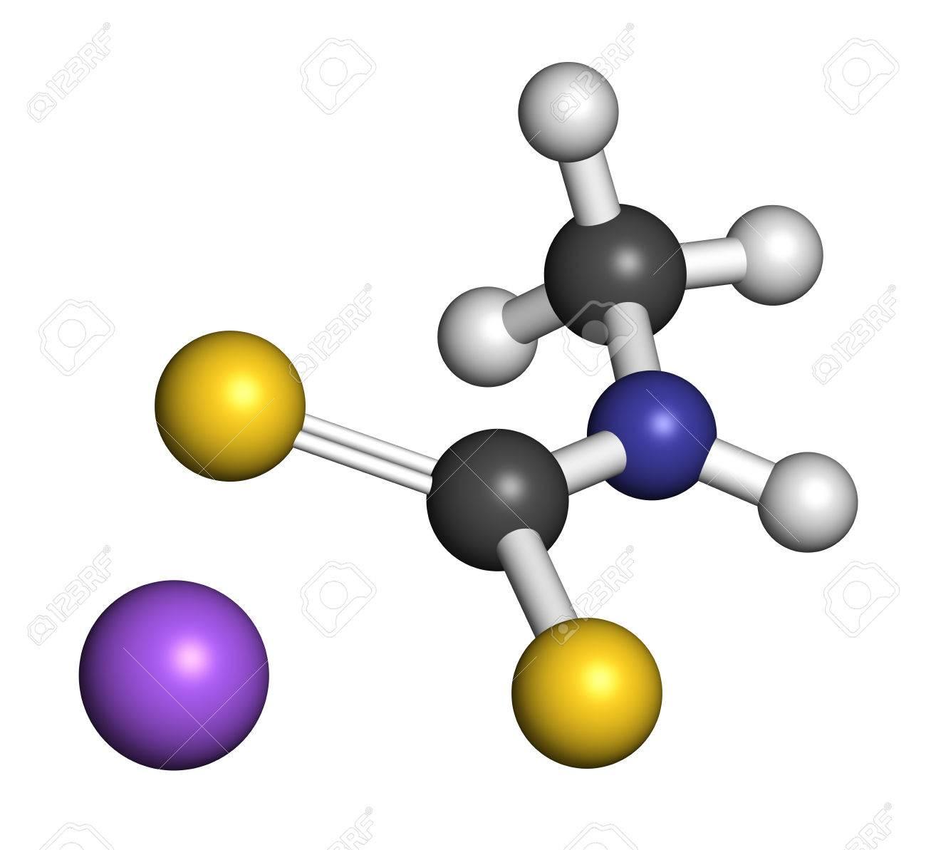 Metam Sodium Pesticide Molecule. 3D Rendering. Atoms Are Represented ...