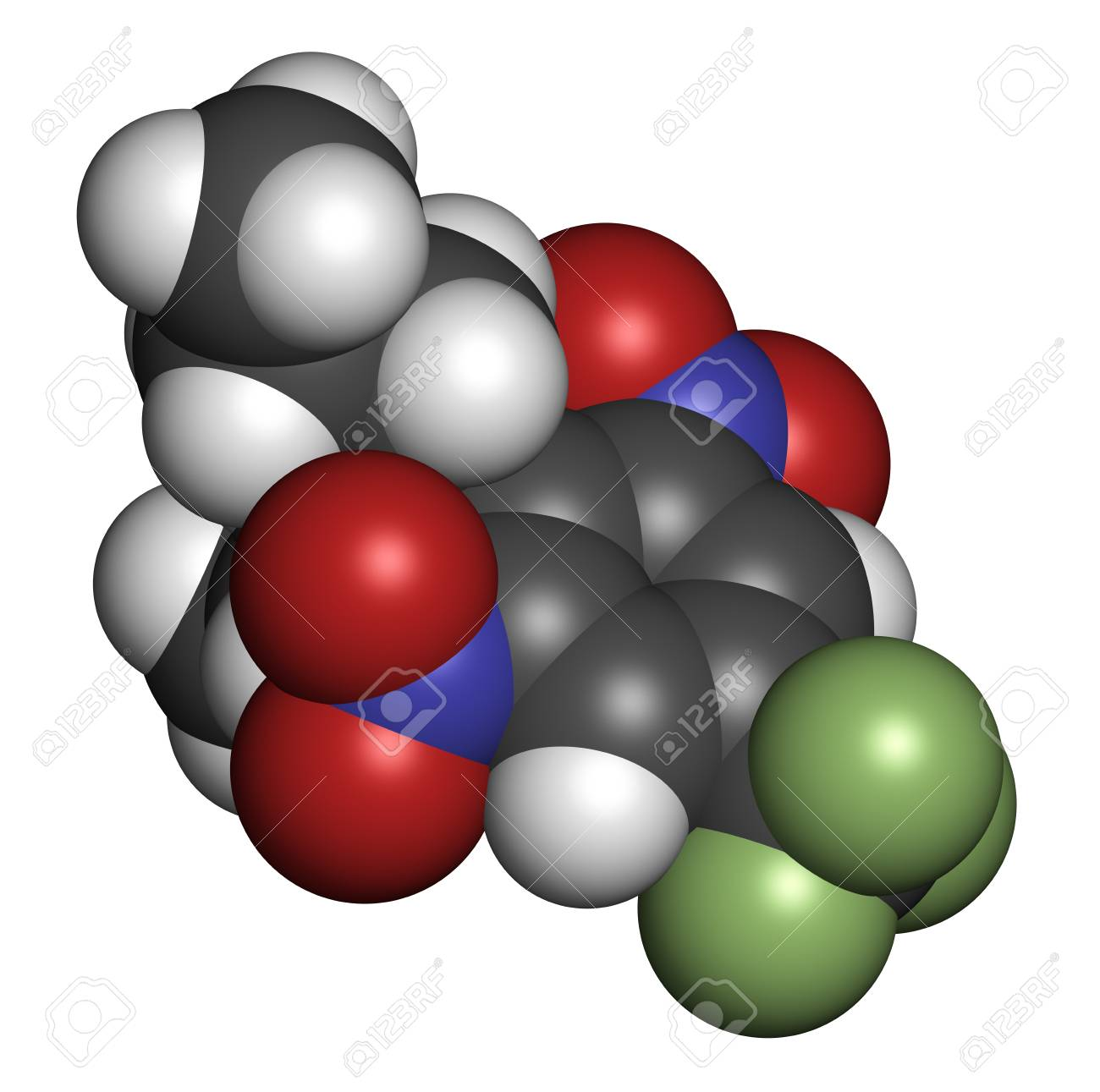 Trifluralin Herbicide Molecule 3d Rendering Atoms Are Represented Oxygen Atom Diagram Spheres Represent Carbon As With Conventional Color Coding Hydrogen White Grey Nitrogen Blue Red