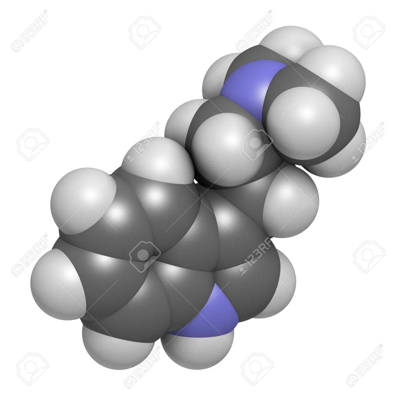 Dimethyltryptamine (DMT) psychedelic drug molecule, 3D rendering