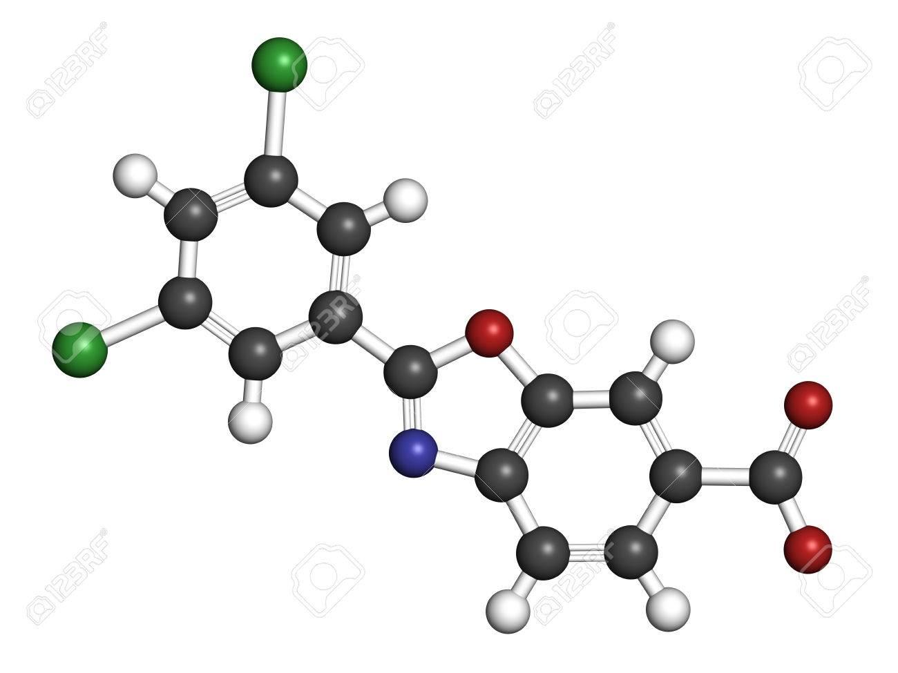 Molécule de médicament à base de polyneuropathie amyloïde familiale (FAP)  de Tafamidis. Rendu 3D. Les atomes sont représentés par des sphères avec un  ...
