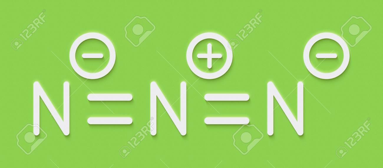 アジ化物の陰イオン、化学構造。...