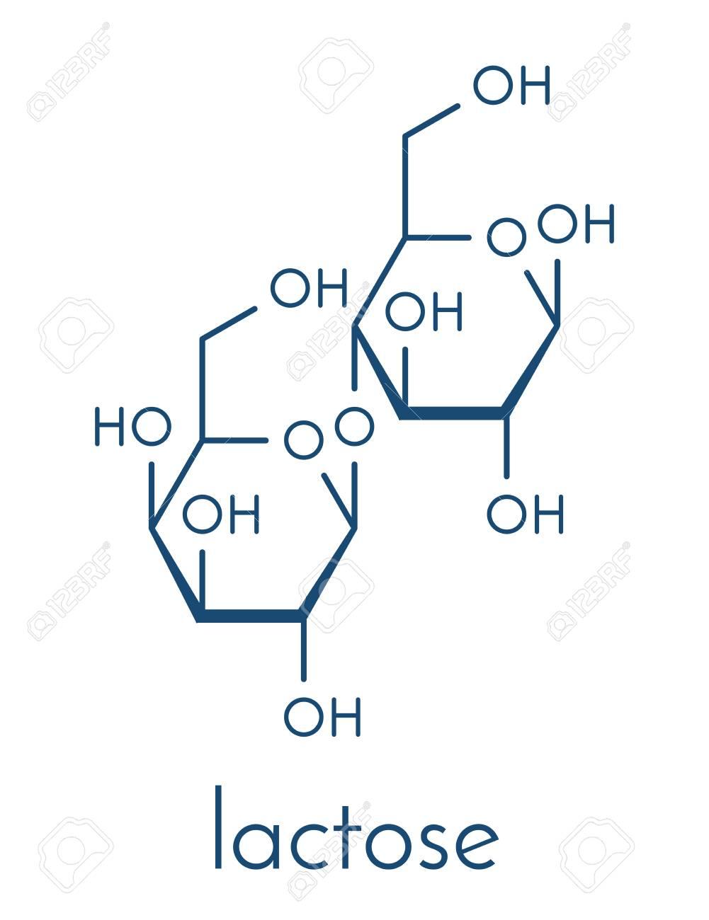Molécula Del Azúcar De La Leche De La Lactosa. Fórmula Esquelética ...