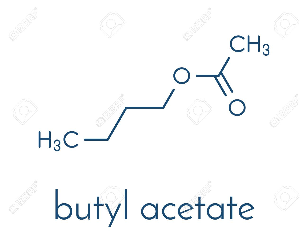 Butyl acetate molecule used as synthetic fruit flavoring and butyl acetate molecule used as synthetic fruit flavoring and as organic solvent skeletal formula biocorpaavc