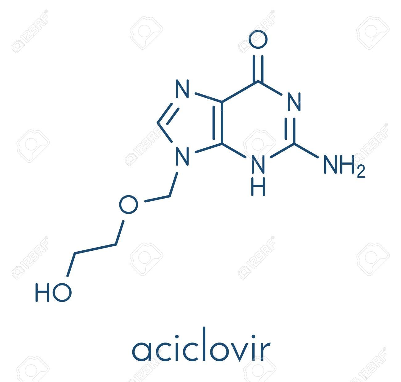 aciclovir (acyclovir) antiviral drug molecule  used in treatment of herpes  simplex virus (
