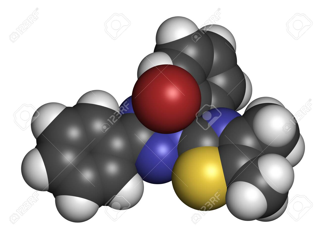 MTT yellow tetrazole dye molecule. Used in MTT assay, used to measure cytotoxicity and cell metabolic activity. 3D rendering. Atoms are represented as spheres with conventional color coding: hydrogen (white), carbon (grey), oxygen (red), nitrogen (blue), sulfur (yellow), bromine (brown). - 149103671