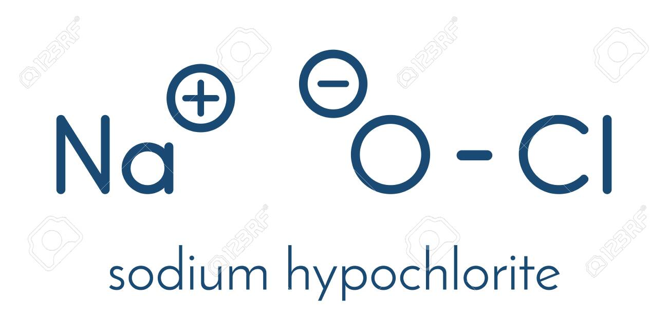 Sodium hypochlorite (NaOCl) molecule. Aqueous solution is known as (liquid) bleach. Skeletal formula. - 150281295