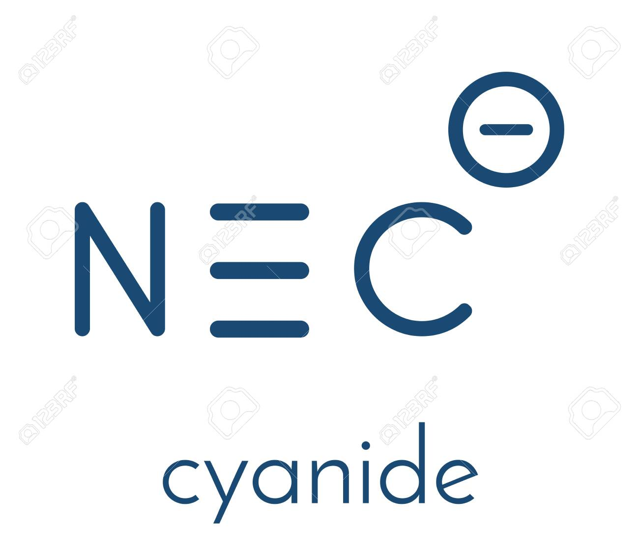 Cyanide anion, chemical structure. Cyanides are toxic, due to inhibition of the enzyme cytochrome c oxidase. Skeletal formula. - 149475021