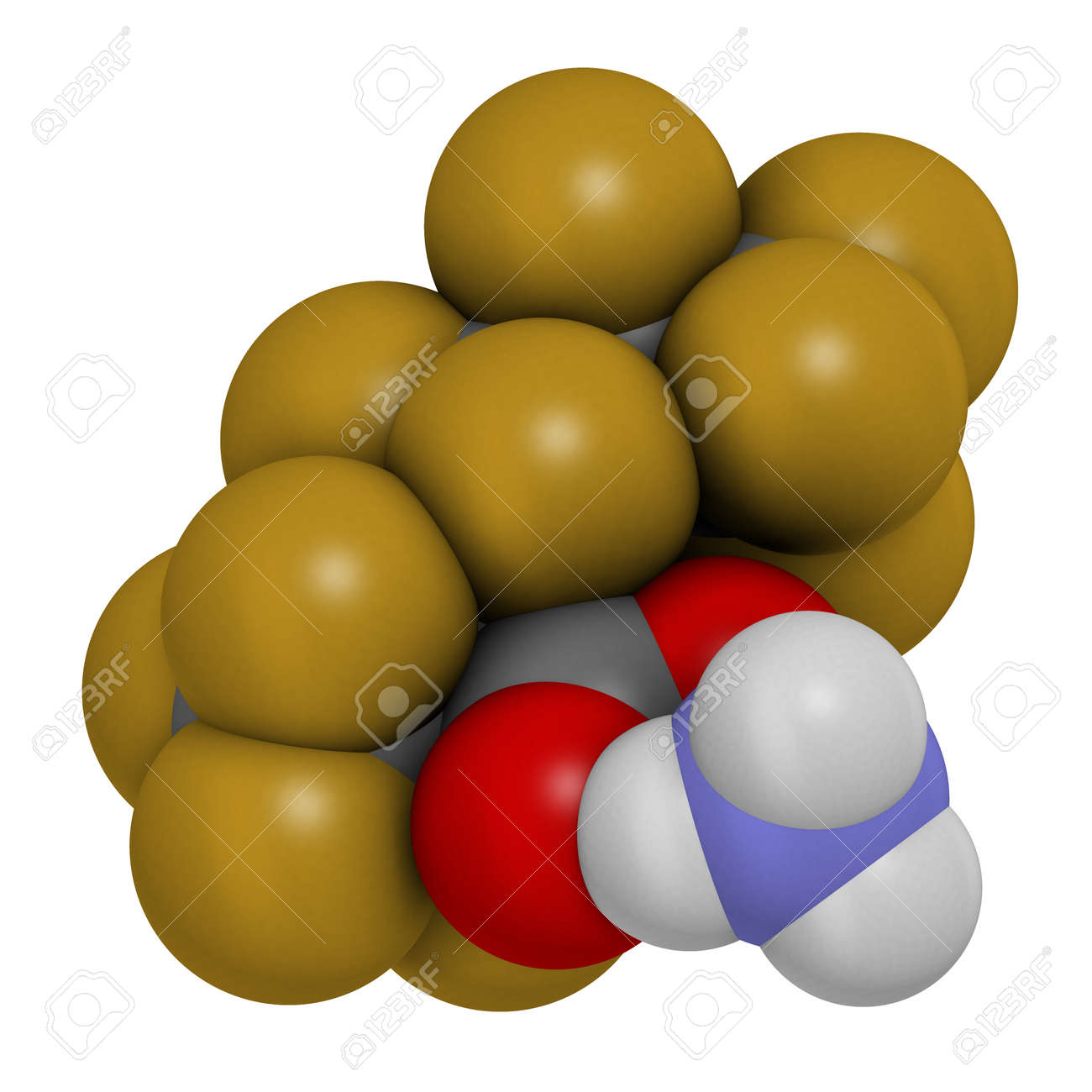 Ammonium perfluoro(2-methyl-3-oxahexanoate) molecule, also known as GenX or FRD-902. 3D rendering. Atoms are represented as spheres with conventional color coding: hydrogen (white), carbon (grey), oxygen (red), nitrogen (blue), fluorine (gold). - 153526595