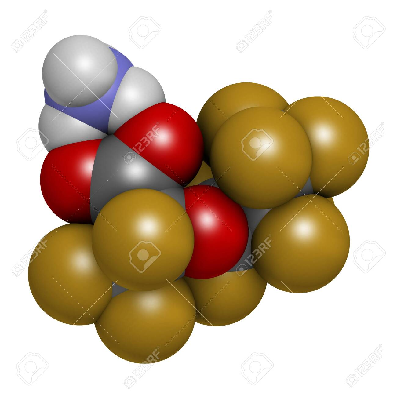Ammonium perfluoro(2-methyl-3-oxahexanoate) molecule, also known as GenX or FRD-902. 3D rendering. Atoms are represented as spheres with conventional color coding: hydrogen (white), carbon (grey), oxygen (red), nitrogen (blue), fluorine (gold). - 153526400