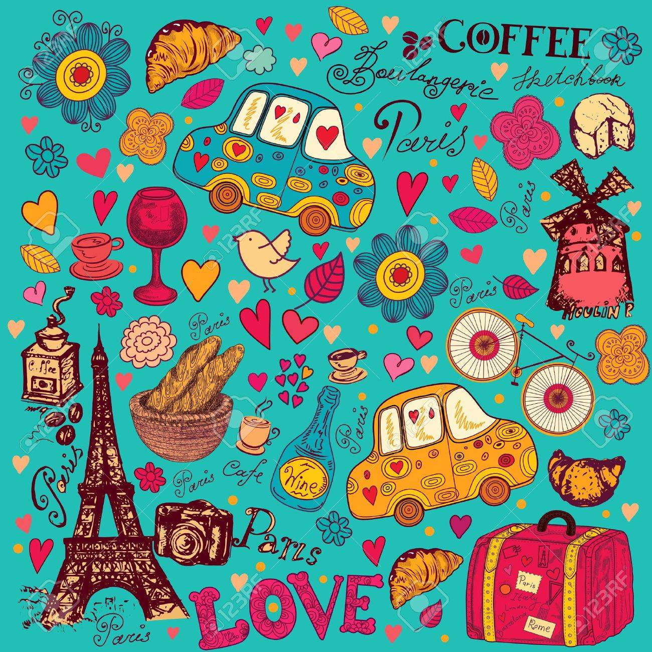 pattern with Paris symbols Stock Vector - 15383669