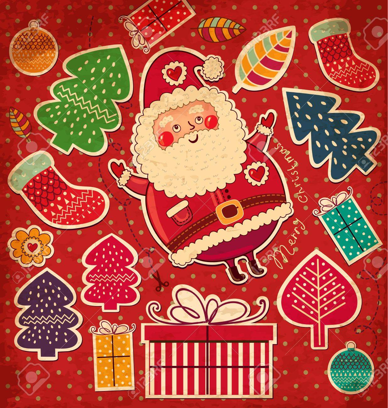 Vintage vector Christmas card with Santa Claus Stock Vector - 15380656