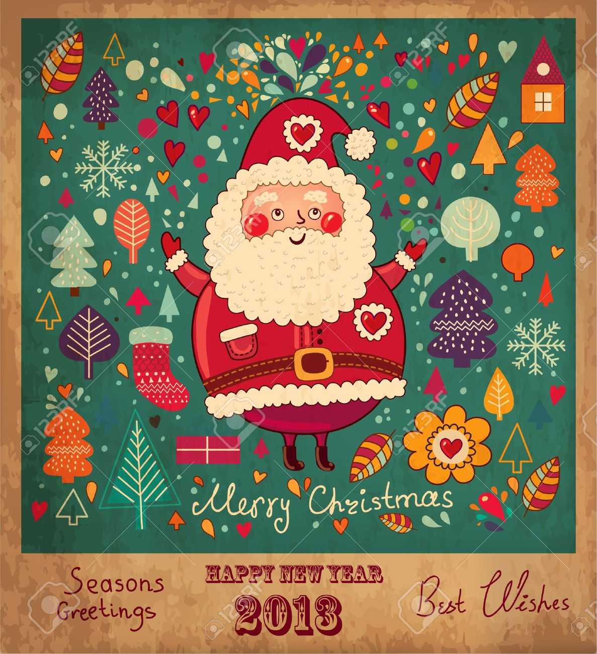 Vector   Vintage Christmas Card With Santa Claus