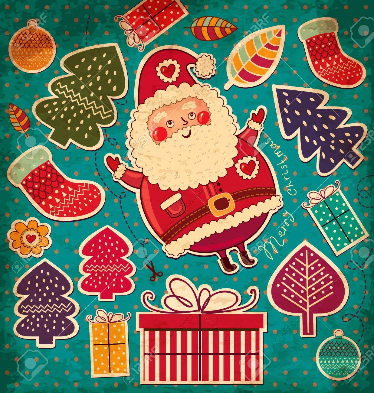Vintage vector Christmas card with Santa Claus Stock Vector - 15380658