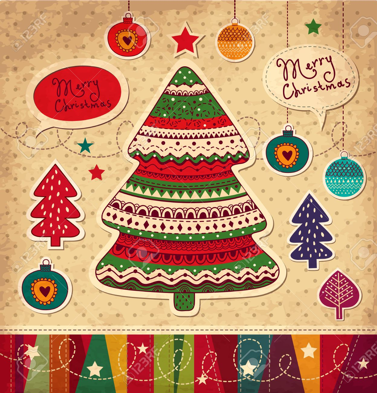 Vintage Christmas Vector Card With Christmas Tree Royalty Free ...
