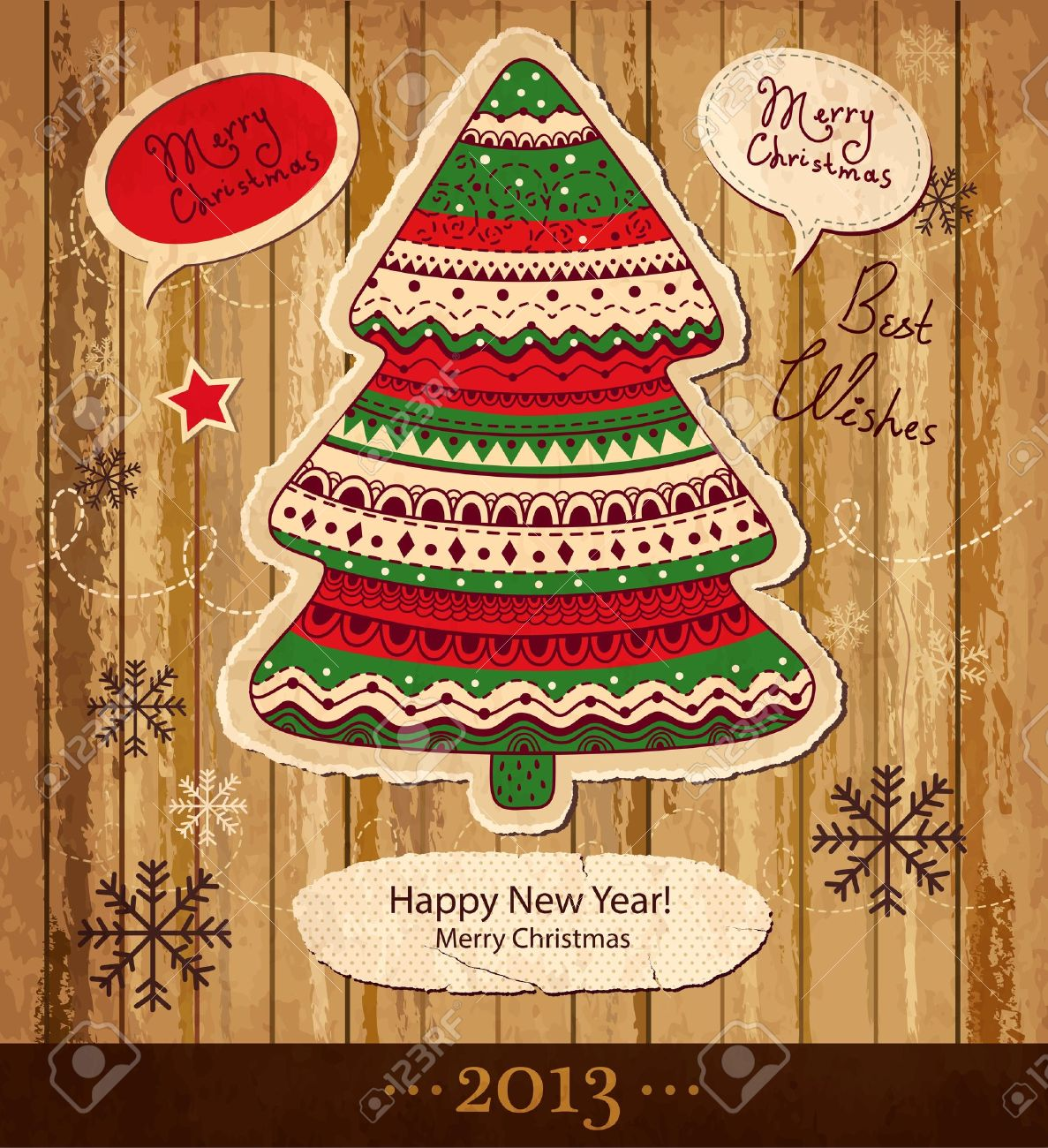 Vintage Christmas vector card with Christmas tree Stock Vector - 15646216