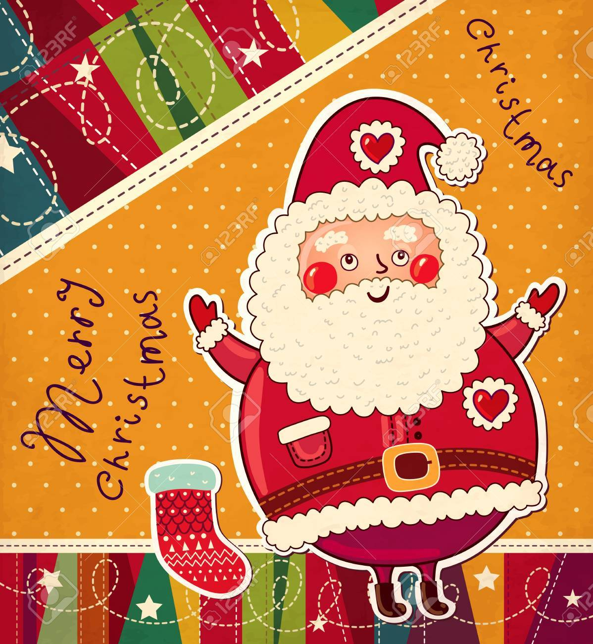 Christmas illustration with funny Santa Claus Stock Vector - 15768344