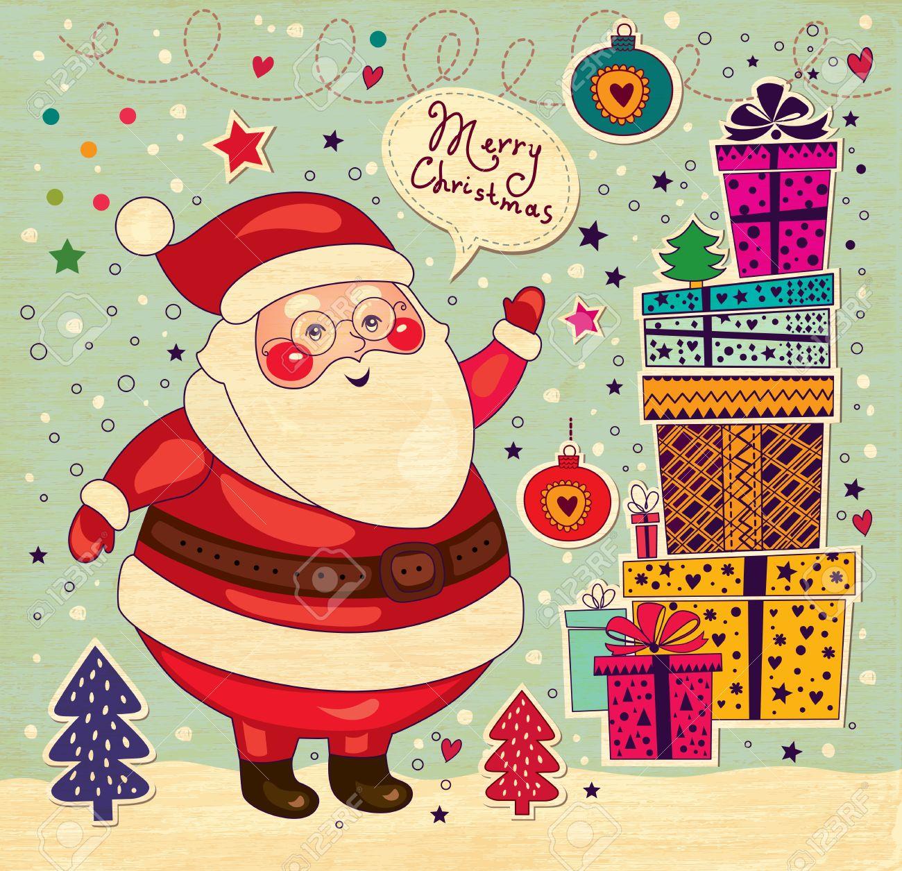 Christmas card with Santa Claus Stock Vector - 16439903