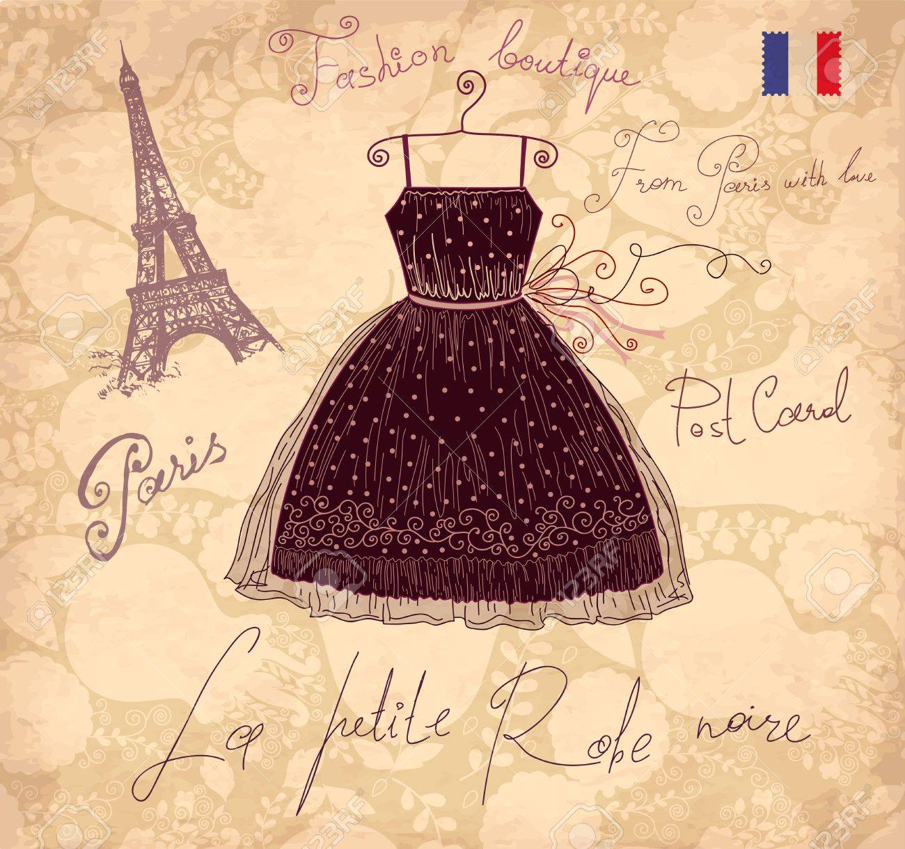Vector illustration with symbols of french fashion Stock Vector - 17693844