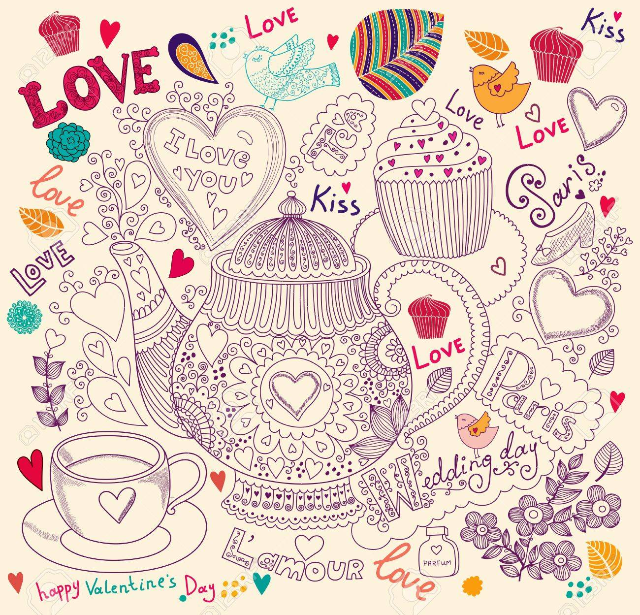 Vector art hand drawn holiday card with cupcake and teapot Stock Vector - 17693854