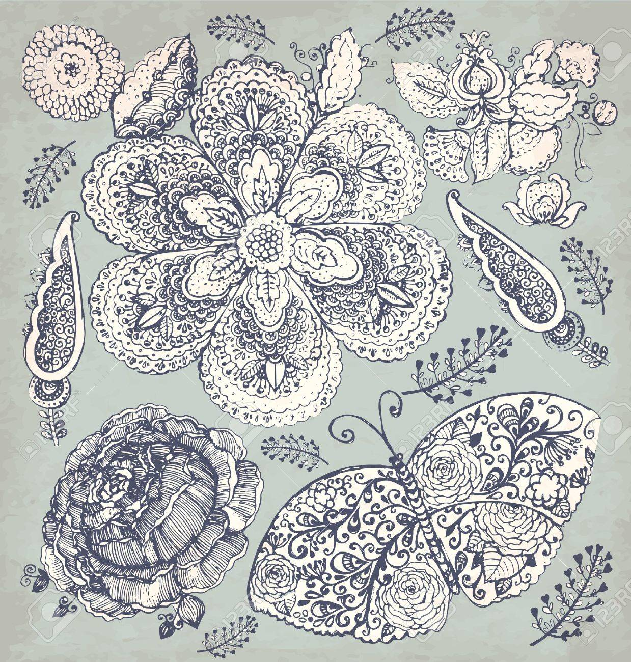 hand drawn vintage illustration with flowers and butterfly Stock Vector - 17921911
