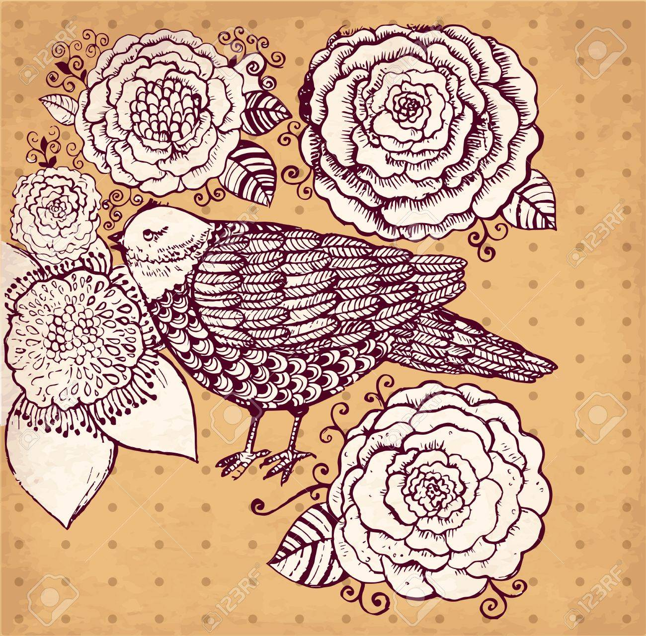 hand drawn vintage illustration with flowers and bird Stock Vector - 17922132